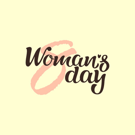 Happy womans day lettering. Hand drawn greeting card