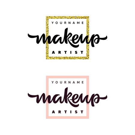 Logo moda artysty makijażu. Ilustracja napis. Logo