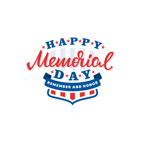Happy memorial day card. American national holiday. Vector lettering illustration.