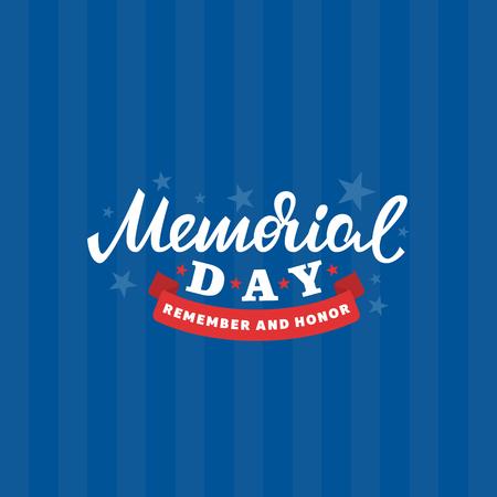 Memorial day card. American national holiday. Vector lettering illustration. Illustration