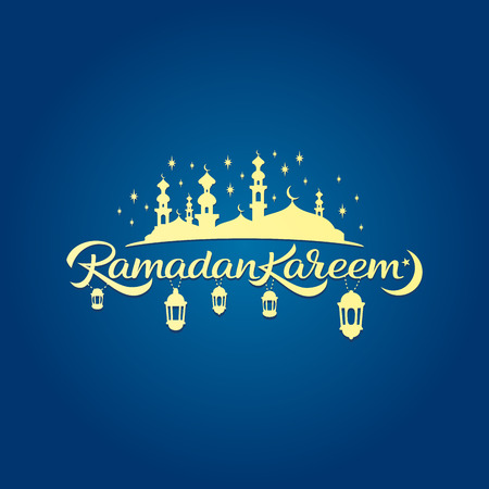 Vector calligraphy. Beautiful Islamic Holy Month greeting card. Illustration