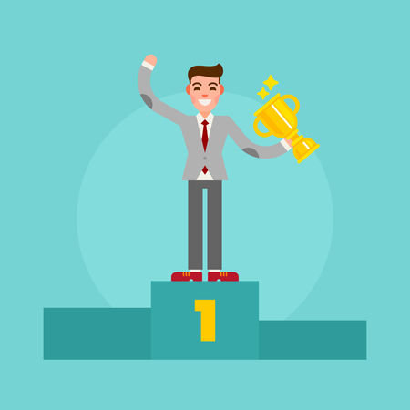 Successful winner businessman standing on the pedestal with a cup in the hand. Happy man in suit. Vector illustration.