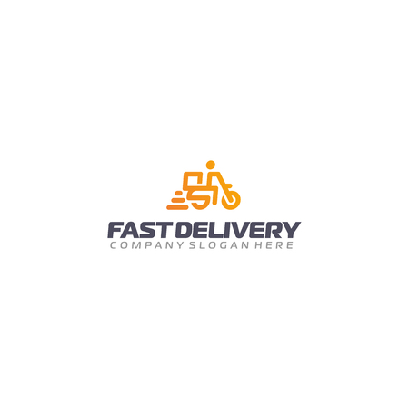 Fast delivery logo. Scooter delivery vector logotype. Motorcycle courier.