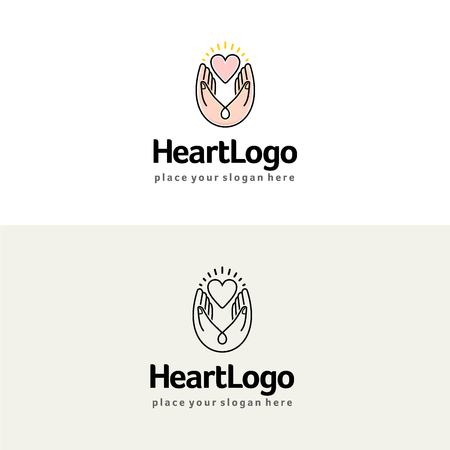 Heart in hands vector logo. Charity and care illustration.