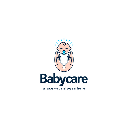 Baby logo. Sleeping baby in mother hands. Care and safety logotype. Illustration