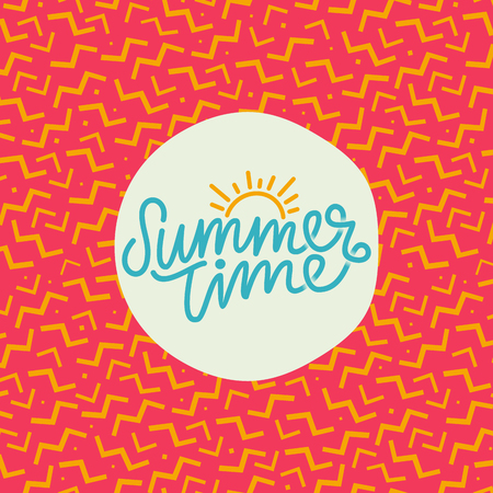 Summer time hand lettering text. Calligraphy poster with a trendy 90s memphis pattern.