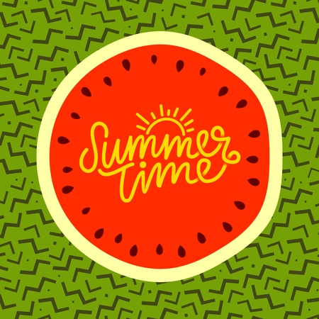Summer time hand lettering text. Calligraphy poster, Watermelon on a trendy 90s memphis pattern.