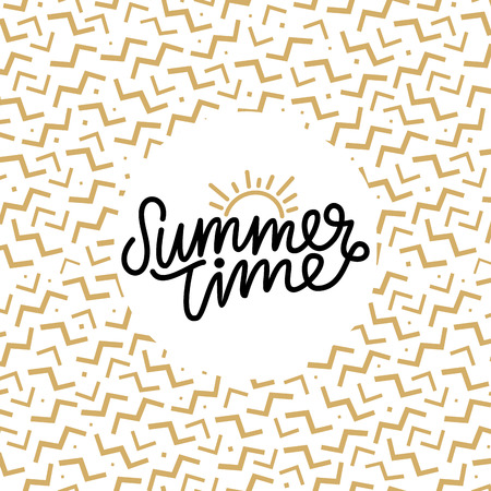 Summer time hand lettering text. Calligraphy poster with a trendy 90s memphis pattern. Hand writting.