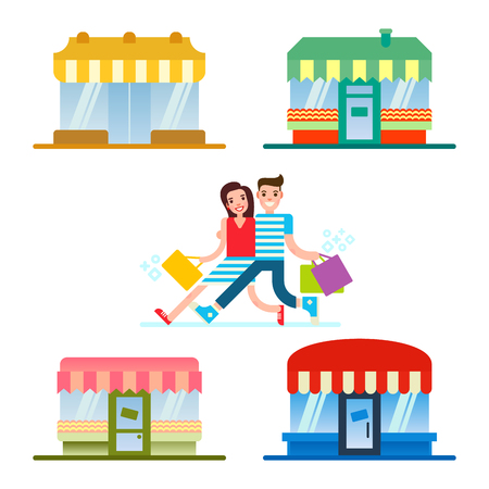 People shopping in a front of the set of the shops restaurants and stores facade. Illustration