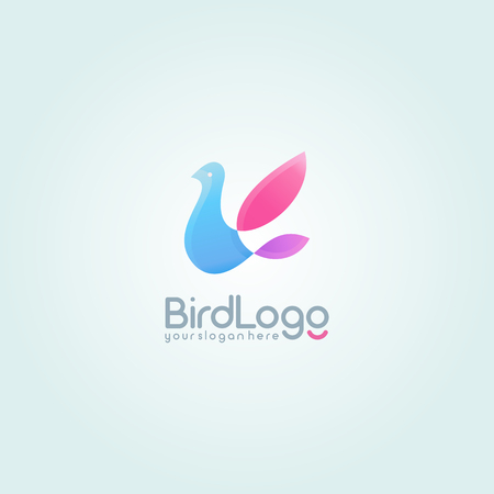 Flying Bird logo. Colorful logotype design template. Illustration