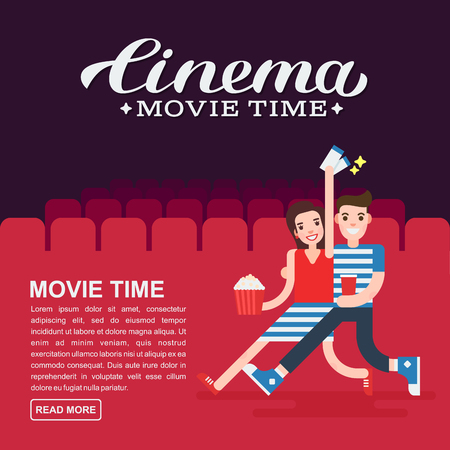 Cinema poster or movie banner template. Lettering writing. Couple people with a popcorn, soda and cinema tickets on the background of the cinema seats. Illustration