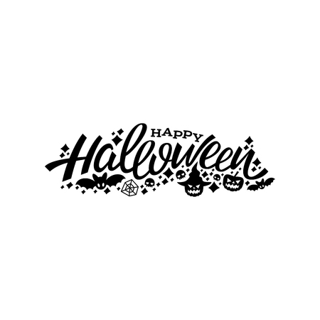 Happy halloween lettering design. Greeting vector illustration. Template