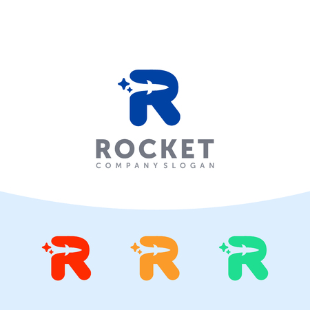Rocket logo. Capital R letter with rocket in the negative space.