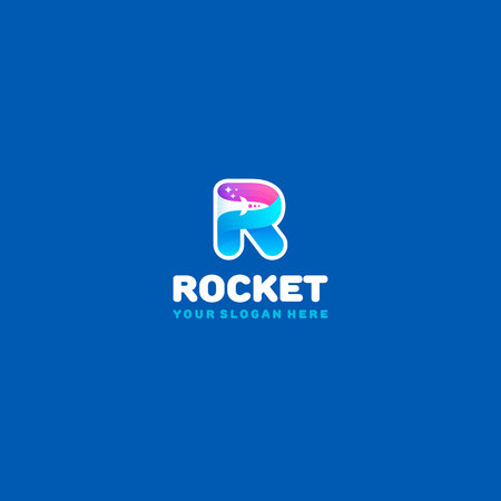 Rocket logo. Colorful R letter with rocket and stars in the negative space. Illustration