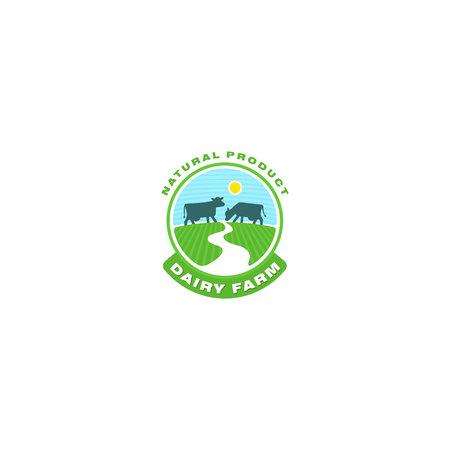 Organic dairy product icon Illustration