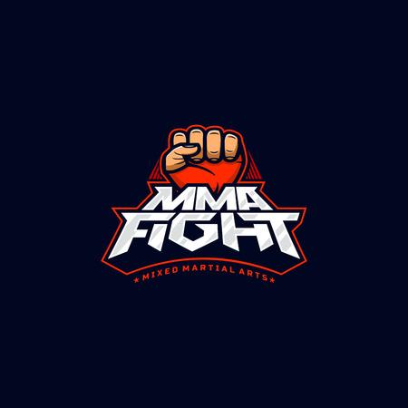 Logotipo de lucha de MMA. Logotipo de vector de artes marciales mixtas. Plantilla de logotipo Mix fight