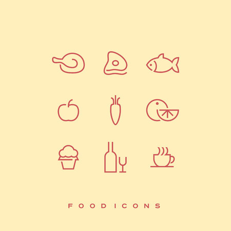 Simple line vector food icon set. Chicken, beef, fish, apple, carrot, orange, cupcake, bottle of wine and wine glass, cup of coffee or tea.