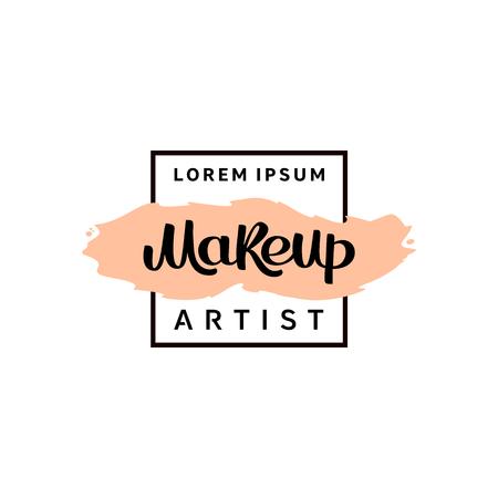 Makeup artist fashion logo. Vector lettering illustration. 向量圖像