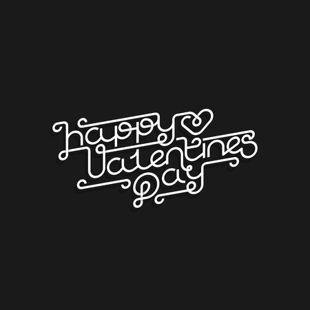 Happy Valentines Day monoline lettering hand drawing vector design