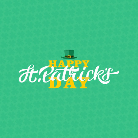 Calligraphy with green three-leaf shamrocks and leprechaun hat