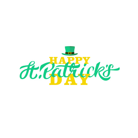 Calligraphy on white background and leprechaun hat
