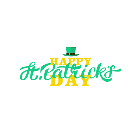 Happy St. Patricks day lettering design. Calligraphy on white background with green three-leaf shamrocks and leprechaun hat.
