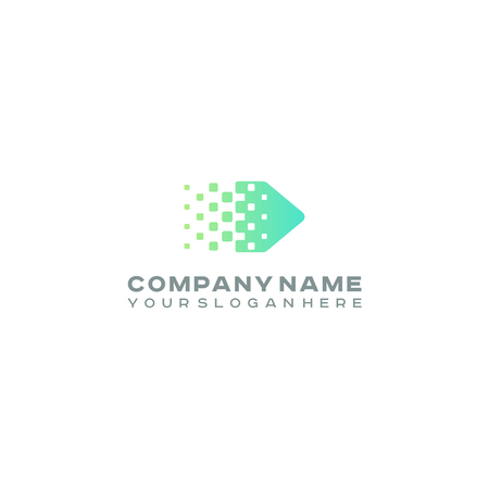 Halftone Arrow logo, Colorful gradient dots, pixels technology and digital logotype Illustration