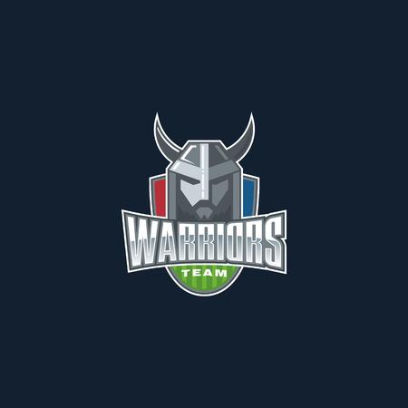 Warriors sport team logo. Fighter sport club badge. Illustration