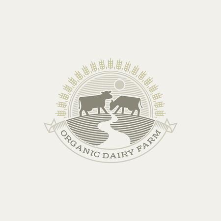 Vintage cow . Organic farm milk emblem. Dairy product engraving Illustration