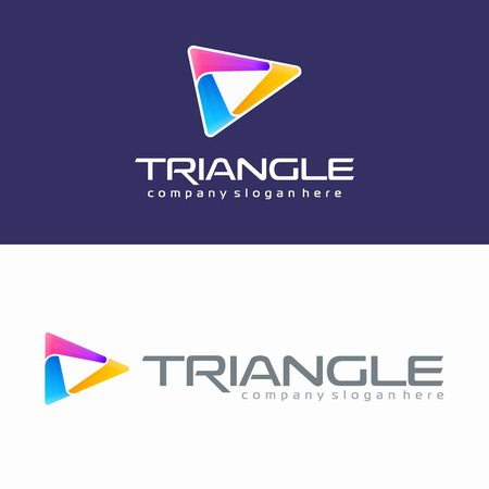 Triangle colorful logo. Abstract media play button design. Modern 3D design Illustration