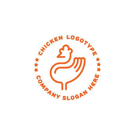Chicken logo. Line icon flat design Illustration