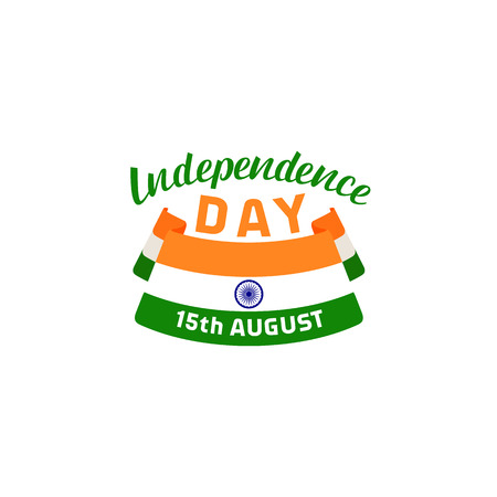 India Independence Day 15th August. Greeting card. Vector lettering Illustration
