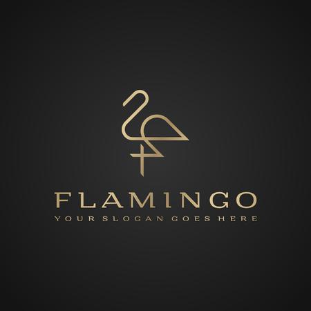 Flamingo logo. Luxury simple design. Vector line drawing template Illustration