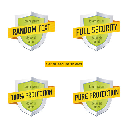 Protection shield with ribbon. Security label icon. Vector badge templates set Illustration