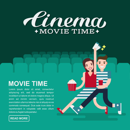 Cinema poster or movie banner template. Lettering writing. Couple people with a popcorn, soda and cinema tickets on the background of the red cinema seats.