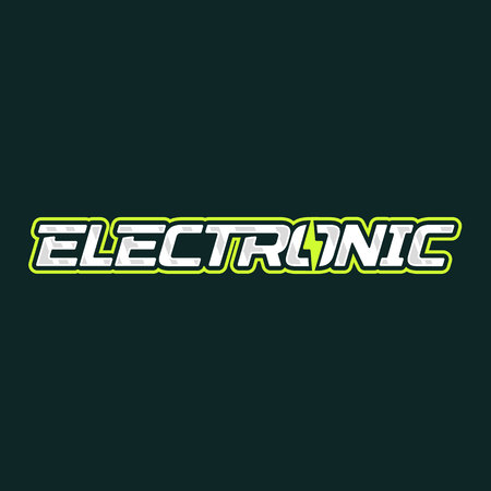 Electronic logo design. Electric lightning energy logotype. Vector emblem
