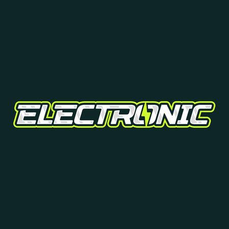 Electronic logo design. Electric lightning energy logotype. Vector emblem