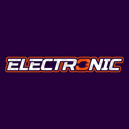 Electronic logo design. Electric plug energy logotype. Vector emblem