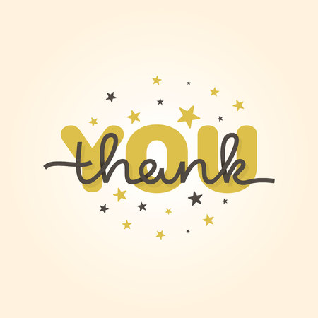 Thank you card. Calligraphy hand lettering. Vector illustration.