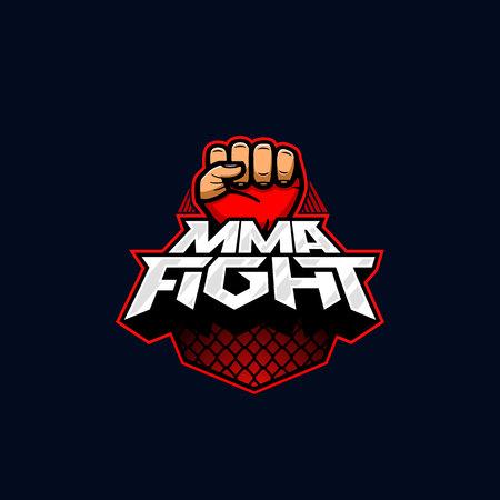 MMA Kampflogo. Gemischter Kampfkunstvektorlogotyp. Mix Kampf Logo Vorlage