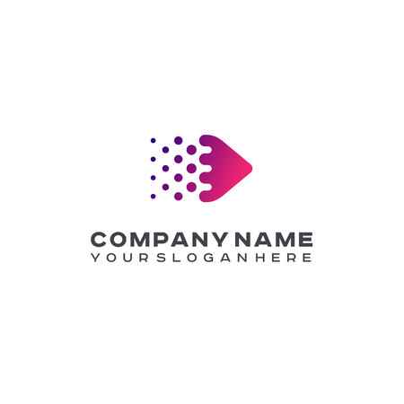 Halftone Arrow logo, Colorful trendy gradient dots, pixels technology and digital logotype