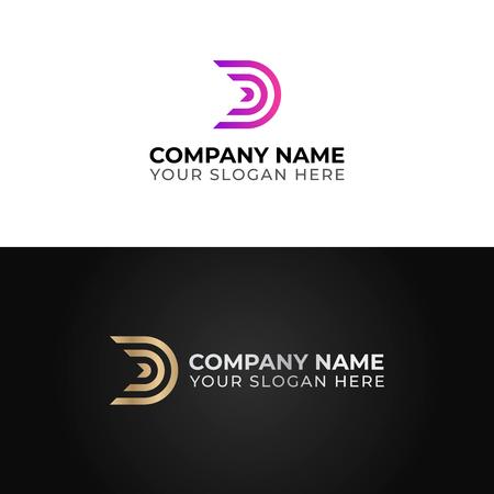 D letter logo template. Colorful vector design Illustration