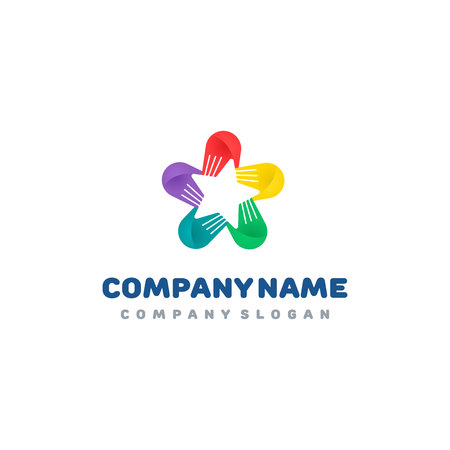 Hands star logo. Hands connection. Colorful vector logotype template. 일러스트