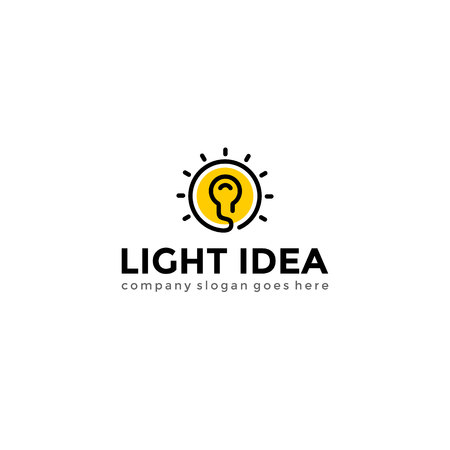 Bulb light logo. Creative idea logotype vector template.