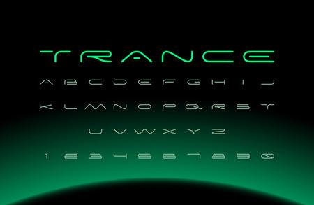 Modern font. Futuristic vector alphabet. Wide letters. Illustration