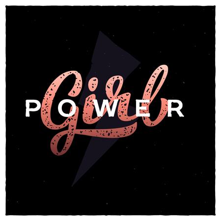 Girl power hand-lettering slogan. Feminism quote illustration logo.