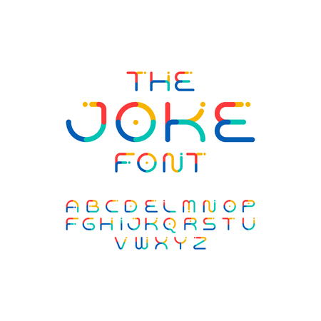 Colorful font. Playful alphabet. Modern vector funny typeface