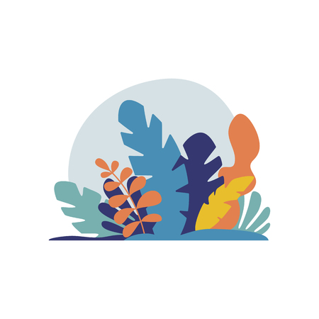 Tropical Plants isolated vector illustration. Trendy jungle leaves. Exotic background in flat style
