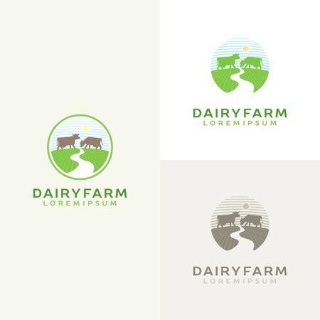 Cow logo set. Farm milk emblem. Dairy product 向量圖像