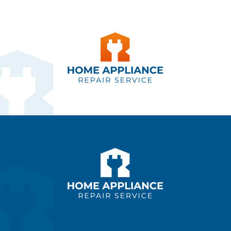 Home appliance repair logo. Vector logotype template. Electric plug in R letter with house silhouette Logos